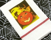 Halloween Dish Towel with 1930's Vintage Image of Adorable Witch, Pumpkin and Cat Halloween Kitchen Decor Fab Hostess Gift