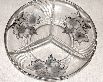 Vintage Glass Crystal Bowl - Rockwell Silver Overlay - Peony Pattern - Divided Dish - Thirties