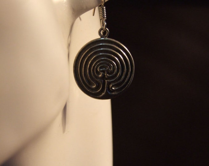 Celtic circle labyrinth earrings made with Australian Pewter and Surgical Steel hook