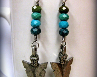 Layered Blue, Green and Brown Chinese Turquoise with Antique Silver Arrow heads