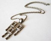 SALE - Vintage Madmen Necklace Sarah Coventry Modernist Pendant Heavy Chain
