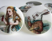 Alice in Wonderland Knobs, Vintage Alice and Wonderland Knobs,  Vintage Illustrations  - Wood Knobs 1 1/2 Inches - Made-to-Order