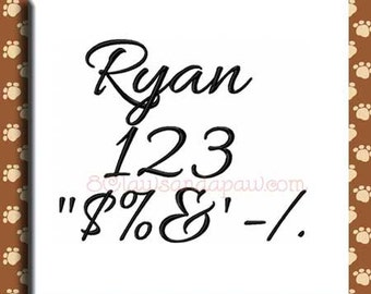 Ryan Embroidery Font includes 5 Sizes