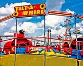 Tilt-A-Whirl Carnival Ride Red & Blue Fine Art Print- Carnival Art, County Fair, Nursery Decor, HomeDecor, Children, Baby, Kids
