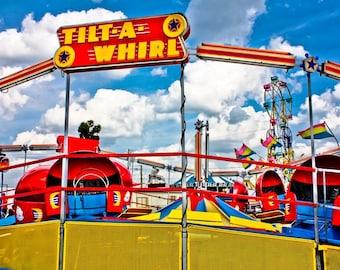 Tilt-A-Whirl Carnival Ride Red & Blue Fine Art Print- Carnival Art, County Fair, Nursery Decor, Home Decor, Children, Baby, Kids