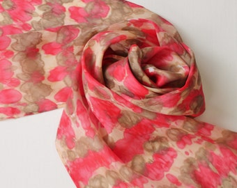 Hand Painted Silk Scarf - Handpainted Scarves Red Brown Ruby Cherry White Apple Chocolate Tan Tie Dye