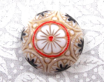 Vintage German Hand Painted White, Gold and Black Mosaic Style Round Glass Cabochons, 2