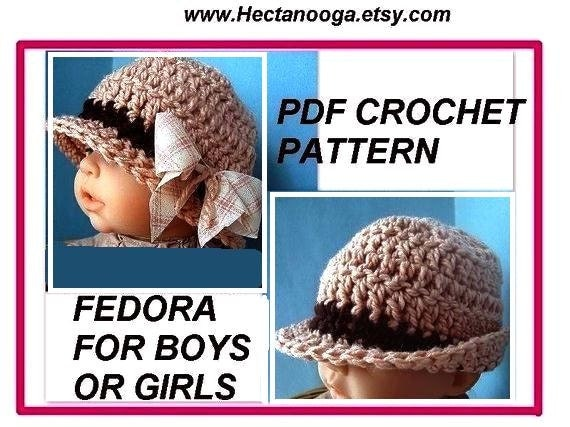 hat, baby, PDF CROCHET PATTERN 269... Fedora for boys or girls. Newborn to age 5, instant download