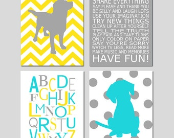 Baby Boy Nursery Art - Puppy Dog Nursery Art Prints - Kids Wall Art Baby Boys Room - Baby Nursery Decor Playroom Rules Quote - Four 8x10