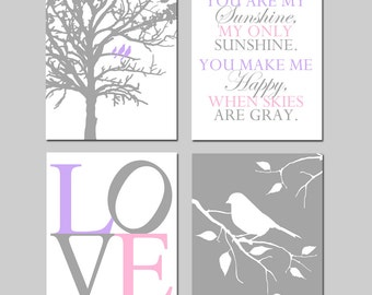 Baby Girl Nursery Art - Set of Four 8x10 Prints - Birds in a Tree, You Are My Sunshine, Love, Bird on a Branch - CHOOSE YOUR COLORS