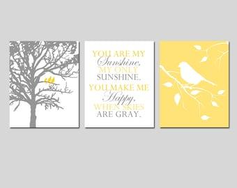 Yellow Gray Grey Nursery Art Trio - Birds in a Tree, You Are My Sunshine, Bird on a Branch - Set of Three 11x14 Prints - Choose Your Colors