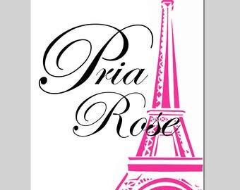 Eiffel Tower Custom Name Paris France Girl Nursery Art Toddler Teen Tween - 11x14 Print - CHOOSE YOUR COLORS