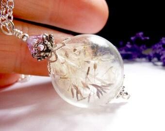 Dandelion Necklace Silver Make A Wish Glass Bead Orb Dandelion Seed Transparent Round Beadwork Flower Botanical