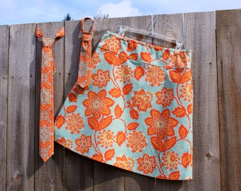 oRaNgE and SeA fOaM a-LiNe SkiRt, fLoRaL tAnGeRiNe OrNaTe FlOrAL aMbEr, Joel Dewberry,Heirloom, A-line Skirt ,size women's 4-22