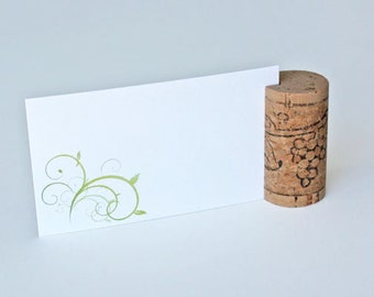 Vertical Wine Cork Place Card Holders - Grapes design