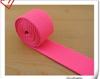 1.25 inch Heavy weight Cotton webbing  purse strap  key fob strap bag strap Hot pink  5 yards ZD62