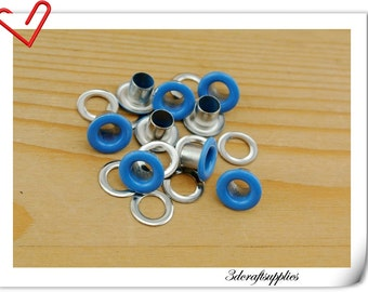 4mm Blue Eyelet  grommet  Grommets eyelets 100 sets AC72B