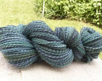 "Handspun Yarn Sportweight ""Ocean"" 235 yds BFL wool"