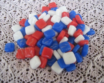 Itty Bitty Pretty Mini Stained Glass Pieces Glass Mosaic Tiles Red and White and Blue Mix 8mm Square