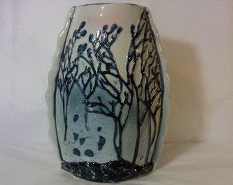 FREE SHIPPING Vase Trees Art Pottery (Vault 7)