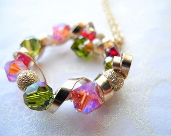 Gold Necklace White Freshwater Pearls Swarovski Crystals Pink Green - Holiday Wreath