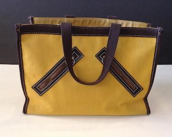 Vintage Gimbels Mod 60s Canvas Tote Purse Bag Diagonal Pockets