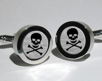Mens Skull and Bones Silver Leaf Cufflinks/Pirate/Rock n Roll/Biker/Steampunk/Gothic/Skull Cufflinks