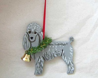 Hand-Painted POODLE SILVER Wood Christmas Ornament...Artist Original, Christmas Tree Ornament Decoration