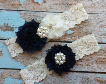 NAVY chiffon / Ivory flower   -pearl broach center / wedding garter set / bridal  garter/  lace garter / toss garter included