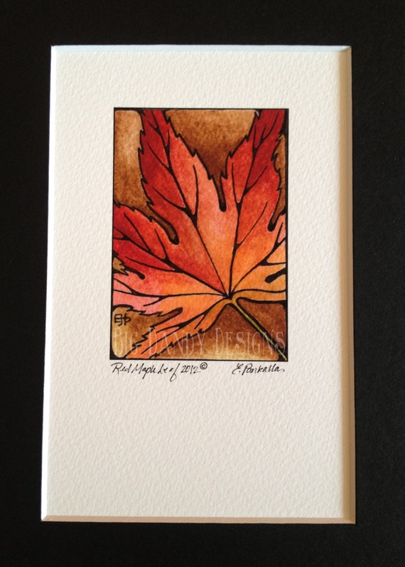 Mini Red Maple Leaf Print from Original Watercolor Painting
