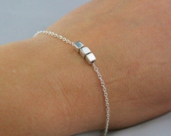Sterling Silver Adjustable Square Bead Bracelet