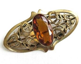 Vintage Large Brooch or Pin Antique Art Nouveau Topaz Cut Glass