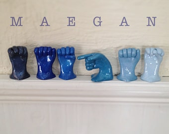 Six Letter Name or Word in American Sign Language - Hand Statues in ASL - Personalized Name or Word Gift - Unique Home Decor - ASL Name Art