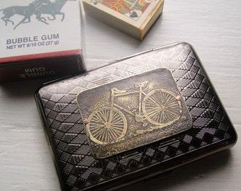 Road Bike Etched Wallet / Cigarette Case in Diamond Tribal Pattern - Acid Bath Series