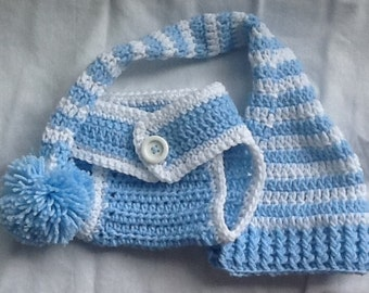 Blue and white pompom hat and matching diaper cover