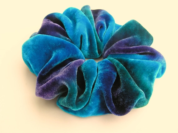 SILK VELVET Scrunchie, OOAKO, hand dyed, soft for hair, turquoise, purple, emerald green/teal, silk scrunchie, ponytail, women, velvet