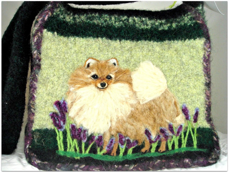 Valentine Sale Felted Purse Felted Handbag Pomeranian Dog Dog