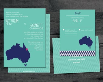 Australia – Wedding Invitation Set – Destination Wedding –