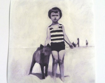 Summer day / Print of original painting - BLACK AND WHITE print - dog and child digital print