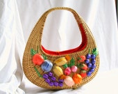 Fruit Basket Purse Lined Woven Straw Colorful Fruit Decorated Wicker Tote Bag
