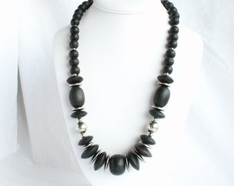 Vintage Black Silver Atomic Beads Necklace Vintage Wood Beads Silver Saucer Discs