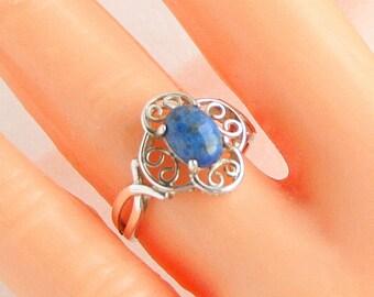 Vintage Blue Lapis Sterling Ring 925 Silver Vintage Filigree Lapis Lazuli Ring