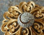 Vintage Pave Rhinestone Gold Swirl Pin, Holiday Sparkle