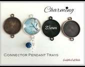 100pk...25mm Connector Circle Pendant Trays....MIX and MATCH..Bezel Trays, Pendant Settings...SPT