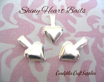 100pc...Heart Bails...Small silver plated Heart Shaped Bails.... Great for Scrabble and Glass Tiles and Gemstones...SHB