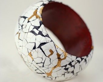 Real Eggshell Bangle Bracelet, Ancient Chinese technique eggshell overlay braceket