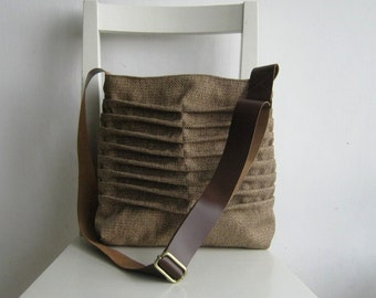 Natural Color with a brown Accent Canvas Pleated Bag with a leather strap