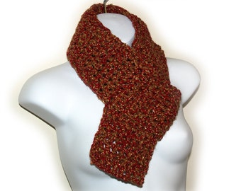 Scarf Burgundy & Gold Crocheted - Harry Potter, Gryffindor, Hermione, Lacy, Fishnet, Repurposed, Recycled, Crochet, Soft, Ready to Ship