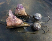 Frail Deeds Dance. Rustic assemblage earrings with raw amethyst and polymer clay art beads. Purple violet.