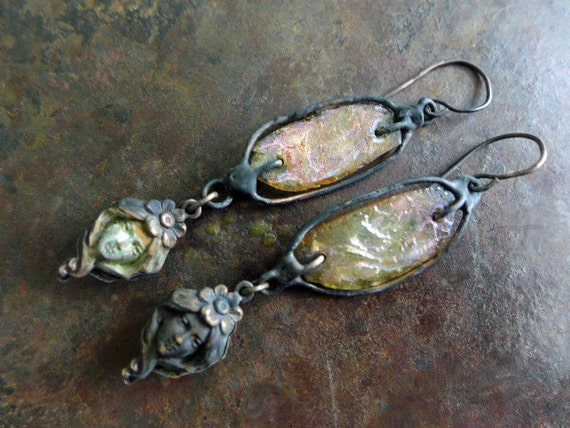 MerMaidens. Victorian Tribal  assemblage earrings with Roman glass.